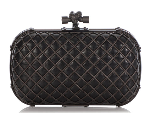 Bottega Veneta Black Leather Metal Cage Knot Clutch