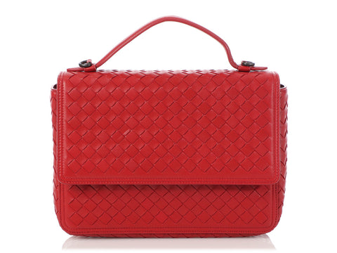 Bottega Veneta Red Intrecciato Boxy Flap Bag
