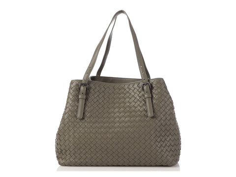 Bottega Veneta Medium Gray Intrecciato Cesta Tote