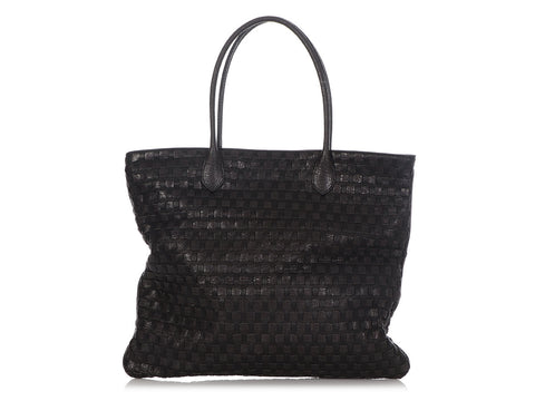 Bottega Veneta Black Basket Weave Tote
