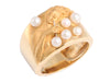 Carrera y Carrera Wide Gold Band with Pearls