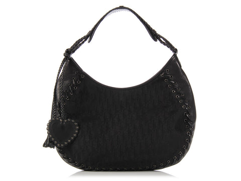Dior Black Monogram and Leather Ethnic Hobo