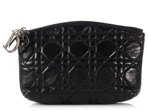Christian Dior Black Cannage Quilted Cosmetic Pouch