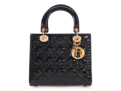 Christian Dior Medium Black Patent Lady Dior