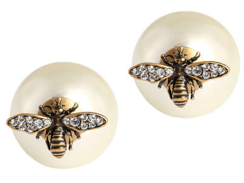 Christian Dior Bee Pearl Tribal Earrings