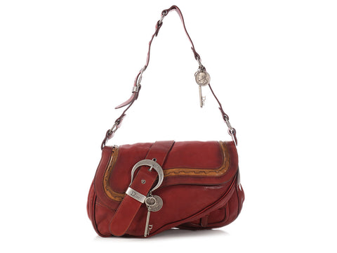Dior Large Bordeaux Gaucho Double Saddle Bag