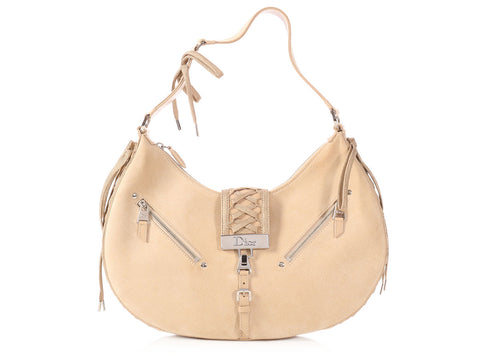 Dior Beige Suede Admit It Shoulder Bag
