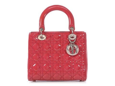 Dior Medium Red Patent Lady Dior