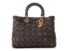 Dior Large Smoky Gray Supple Grained Calfskin Lady Dior Bag