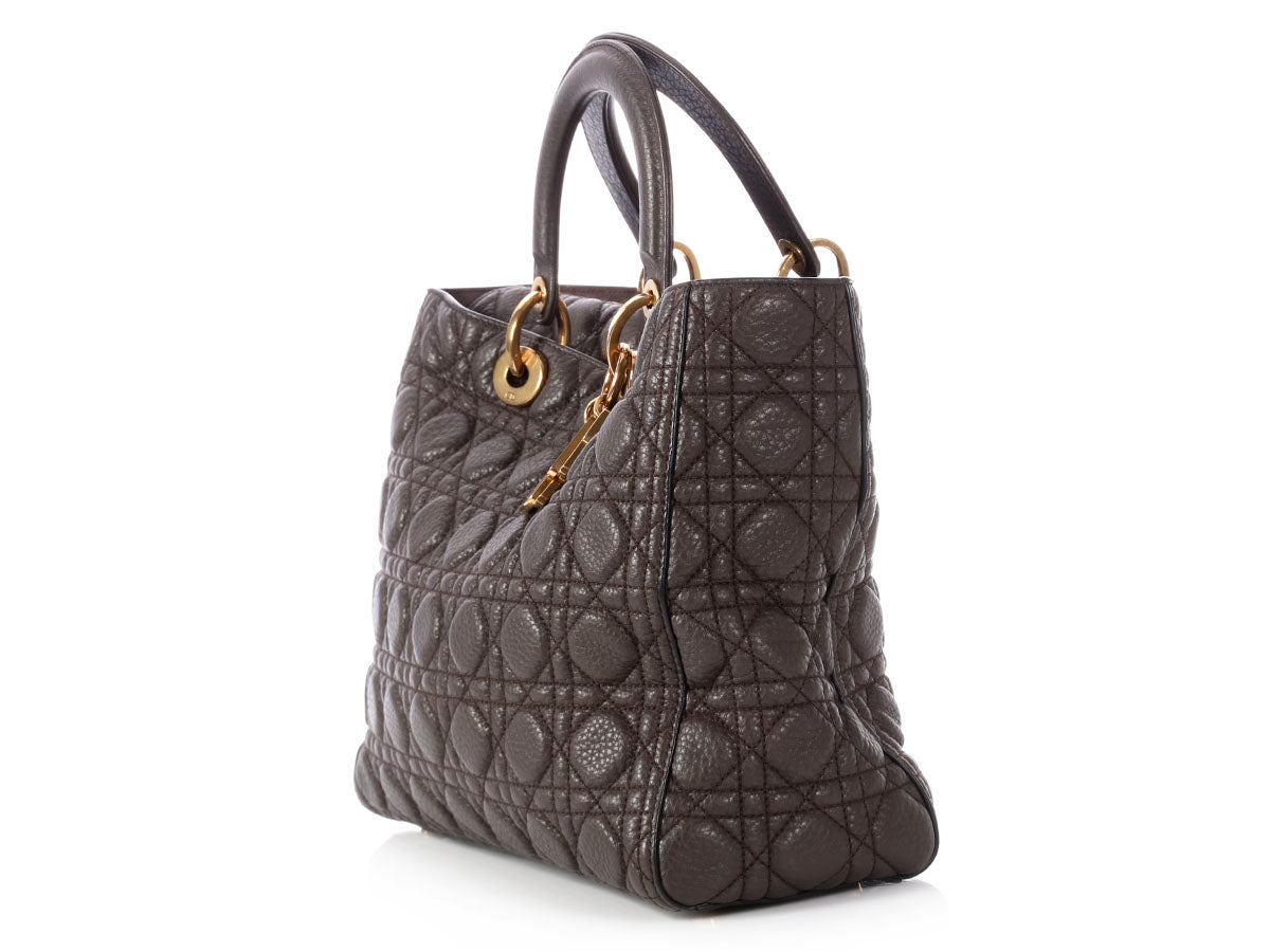 Dior Large Smoky Gray Supple Grained Calfskin Lady Dior Bag 04575910517a7