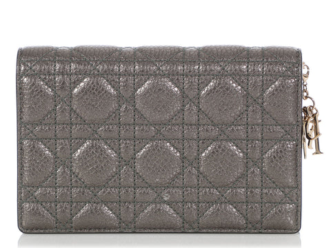 Dior Gunmetal Calfskin Lady Dior Wallet on a Chain WOC