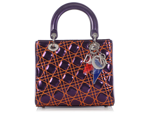 Dior Medium Purple and Orange Anselm Reyle Lady Dior