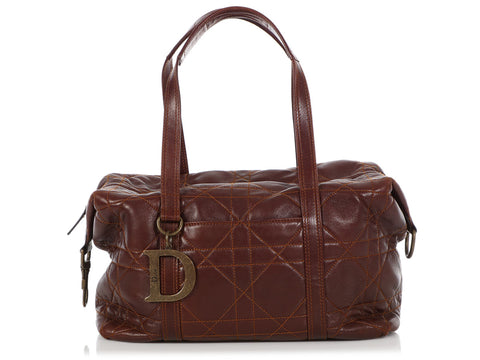 Dior Brown Cannage-Quilted Lambskin Satchel