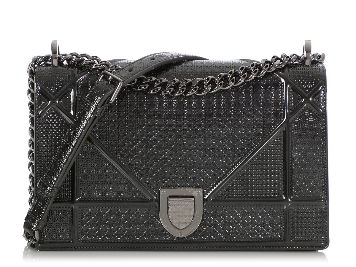 Dior Medium Metallic Gray Micro-Cannage Diorama