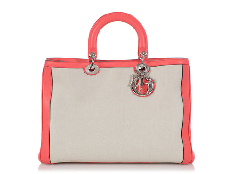 Dior Large Pink Leather and Canvas Diorissimo Tote