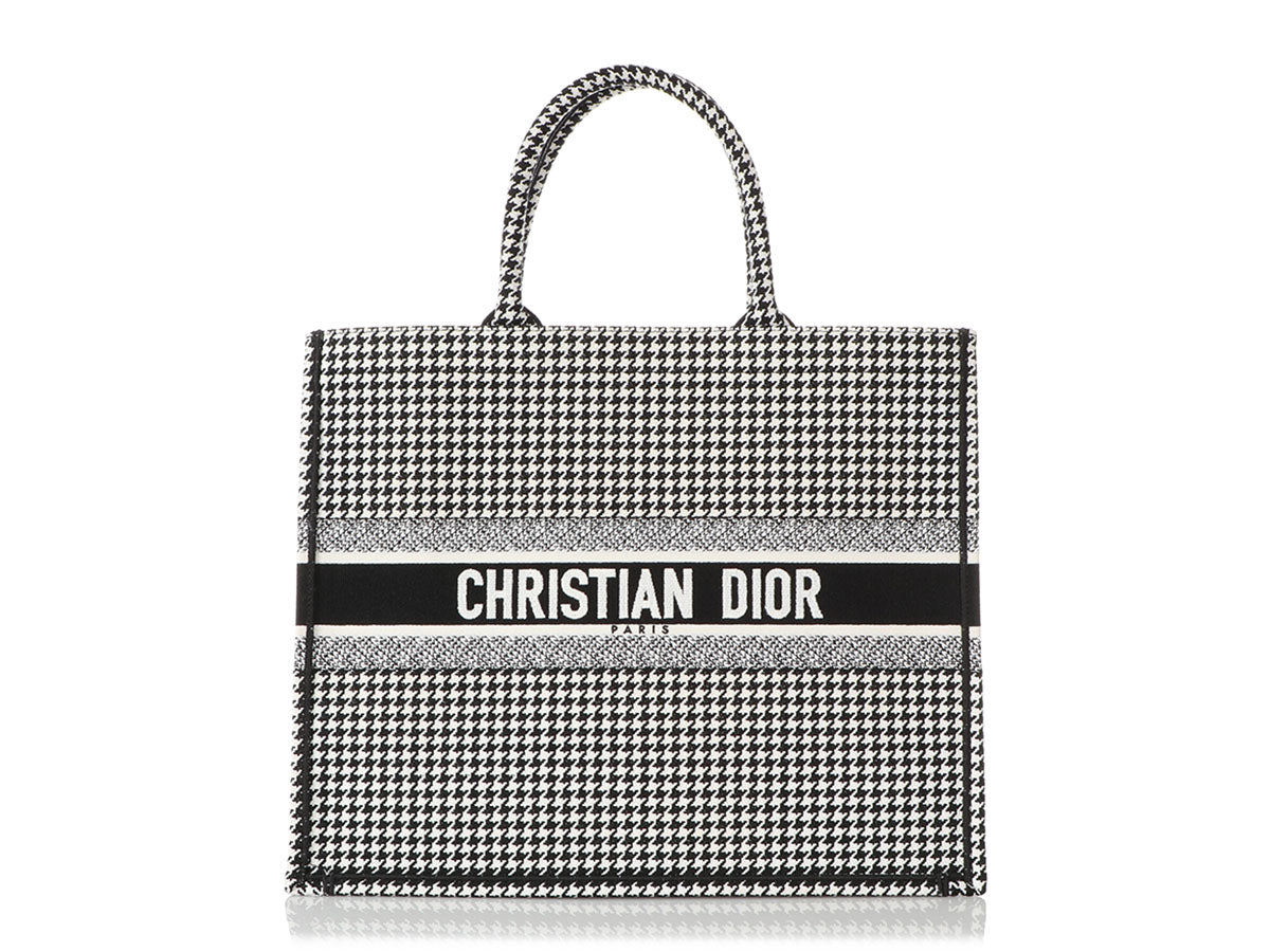 Dior Black and White Houndstooth Book Tote