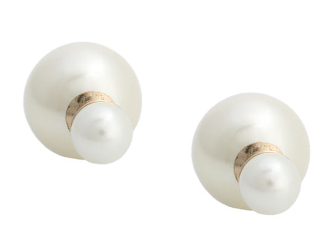 Dior Gold-Tone Faux Pearl Tribales Pierced Earrings