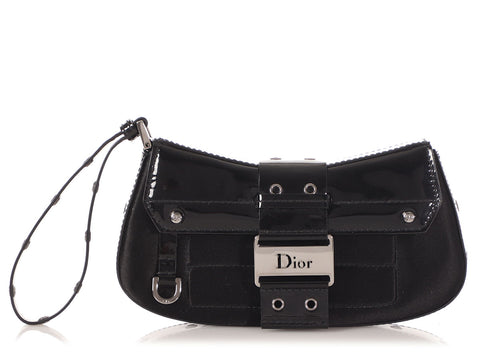 Dior Black Satin and Patent Street Chic Wristlet