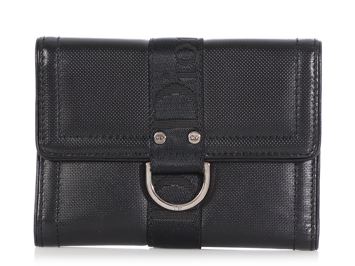 Dior Black Leather and Webbing Wallet