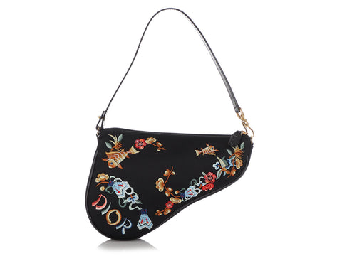 Dior Mini Satin Embroidered Saddle Bag