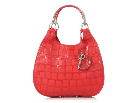 Dior Red Embossed 61 Hobo