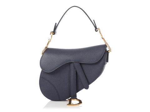 Dior Mini Navy Grained Calfskin Saddle Bag