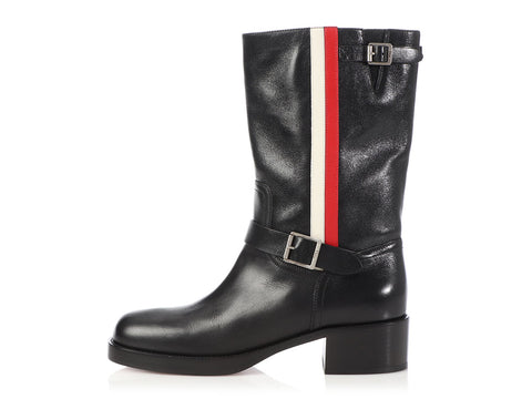 Dior Black Striped Boots