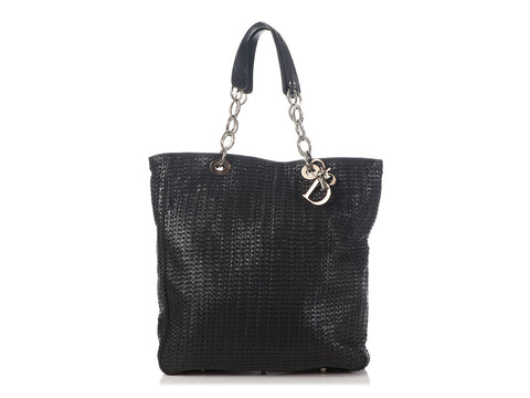 Dior Large Black Soft Woven Lady Dior Tote