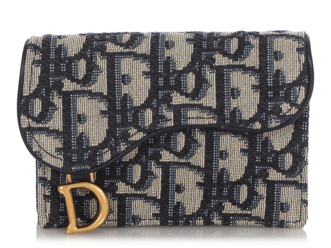 Dior Navy Oblique Saddle Flap Card Holder