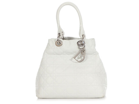 Dior White Cannage Quilted Tote Bag