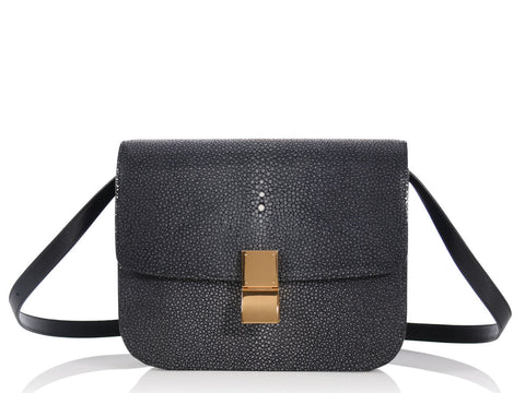 Céline Medium Gray Stingray Classic Box Bag