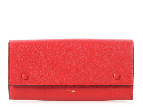 Céline Large Red Multifunction Flap Wallet