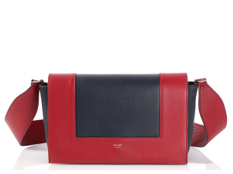 Céline Medium Burgundy and Navy Frame Shoulder Bag