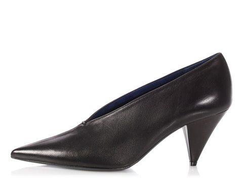 Céline Black Lambskin V-Neck Pumps