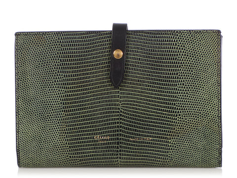 Céline Large Green Lizard Multifunction Wallet