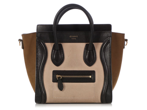 Céline Tricolor Suede and Leather Nano Luggage