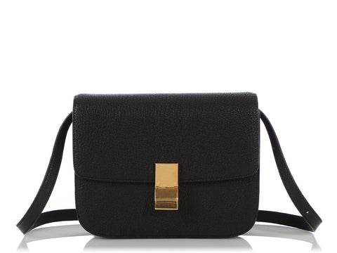Céline Medium Black Goatskin Classic Box