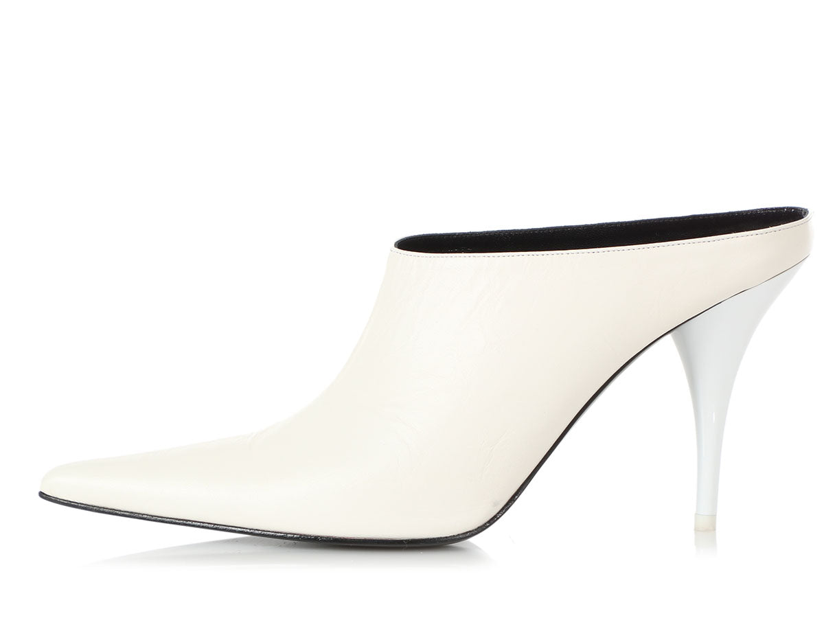 Céline White Leather Pointed Mules