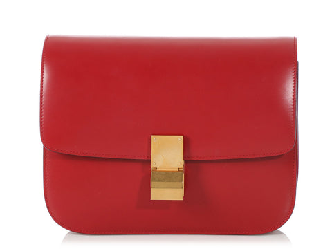 Céline Red Medium Classic Box Bag