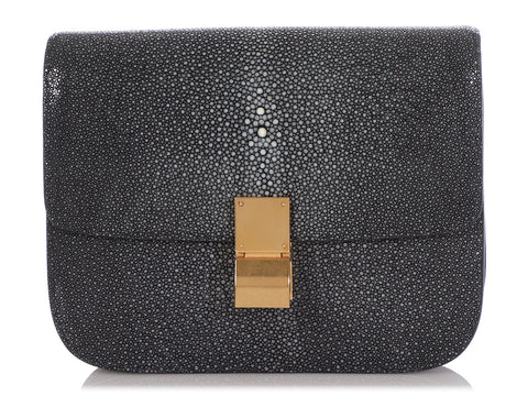 Céline Medium Black Stingray Classic Box