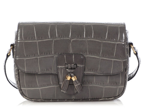 Céline Medium Gray Crocodile Embossed Calfskin Tassels Bag