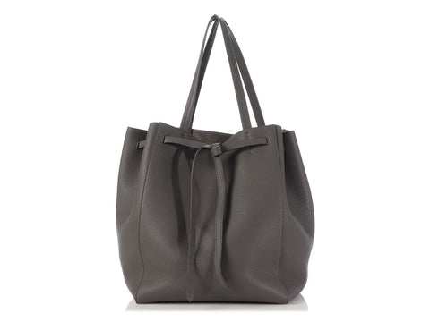 Céline Medium Gray Softgrain Calfskin Cabas Phantom Tote