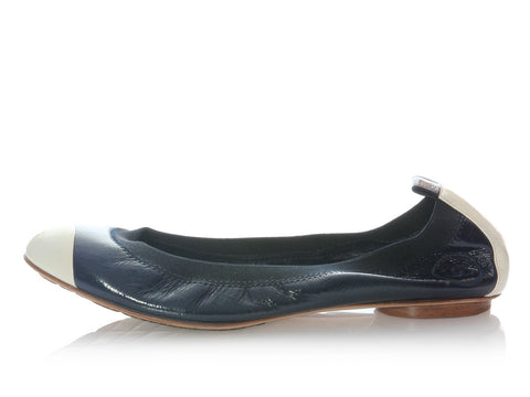 Chanel Navy and White Patent Ballerinas