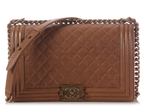Chanel Light Brown Medium Boy Bag