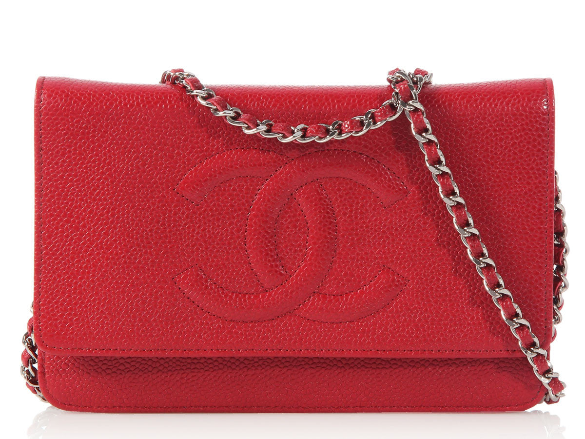 Chanel Red Wallet on a Chain WOC