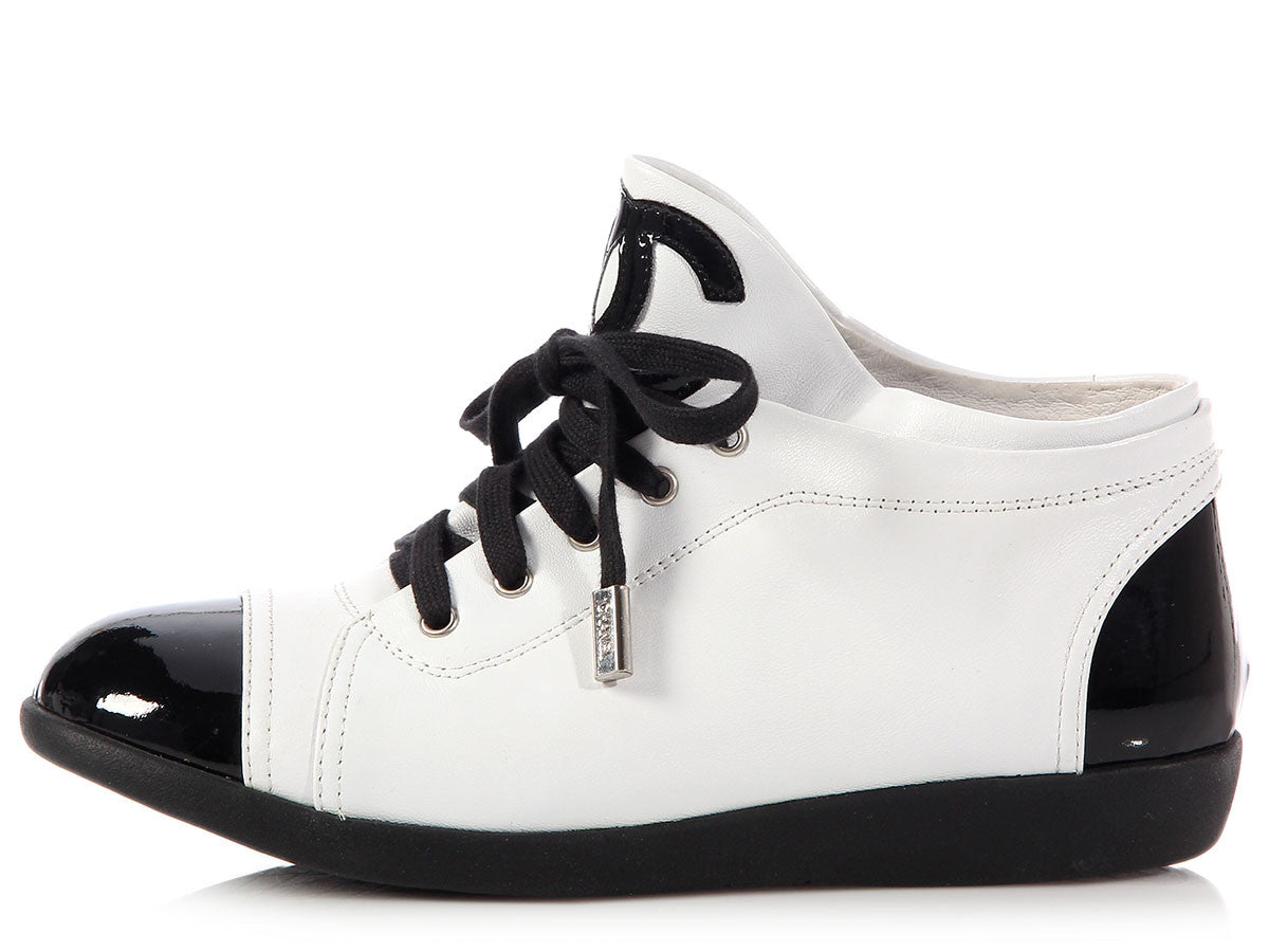 Chanel Black and White Cap Toe Sneakers