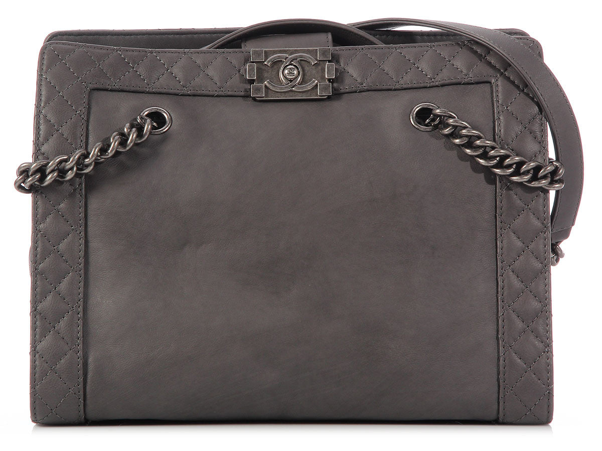 Chanel Dark Gray Boy Tote