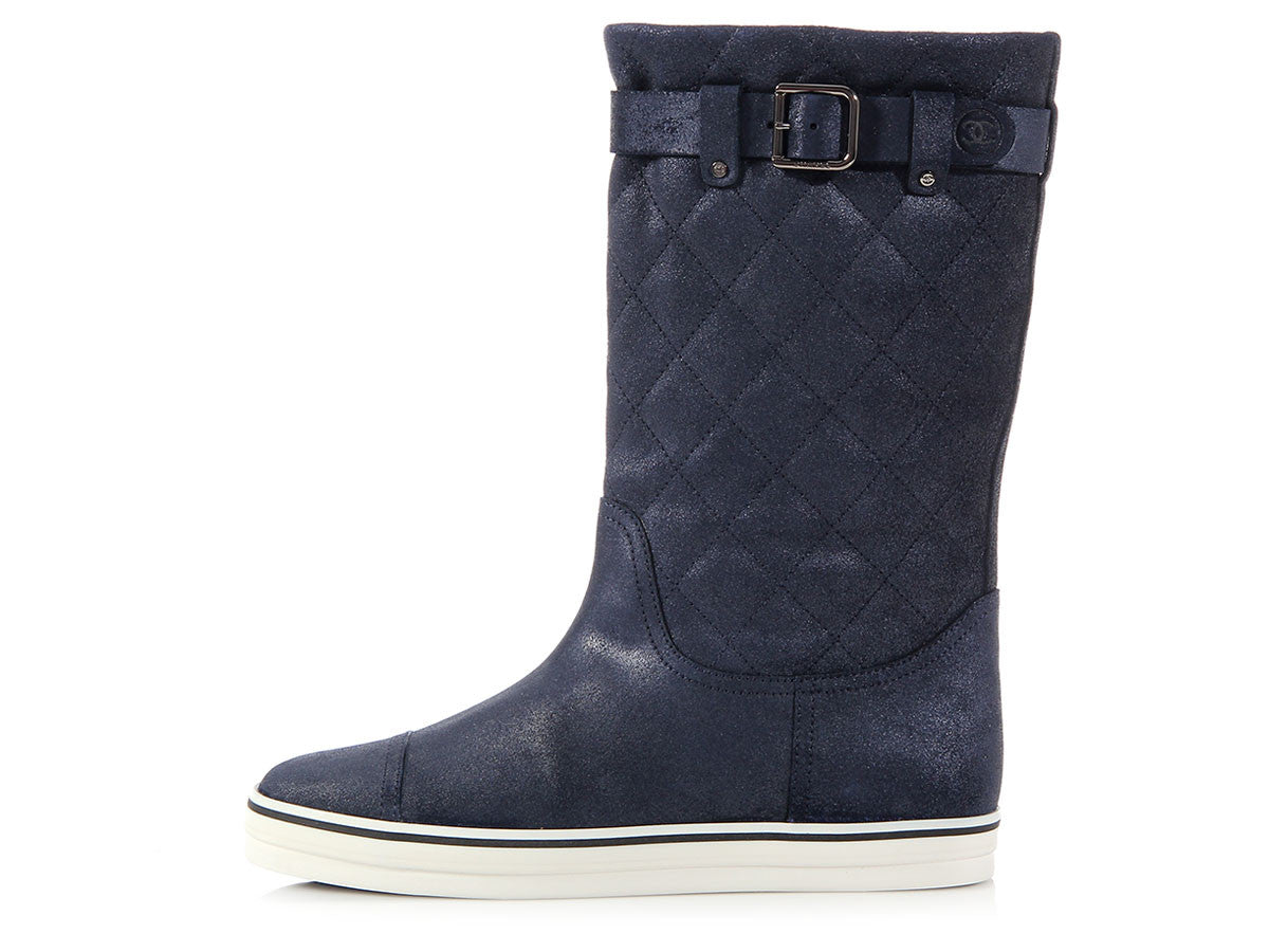 Chanel Midnight Blue Sneaker Boots