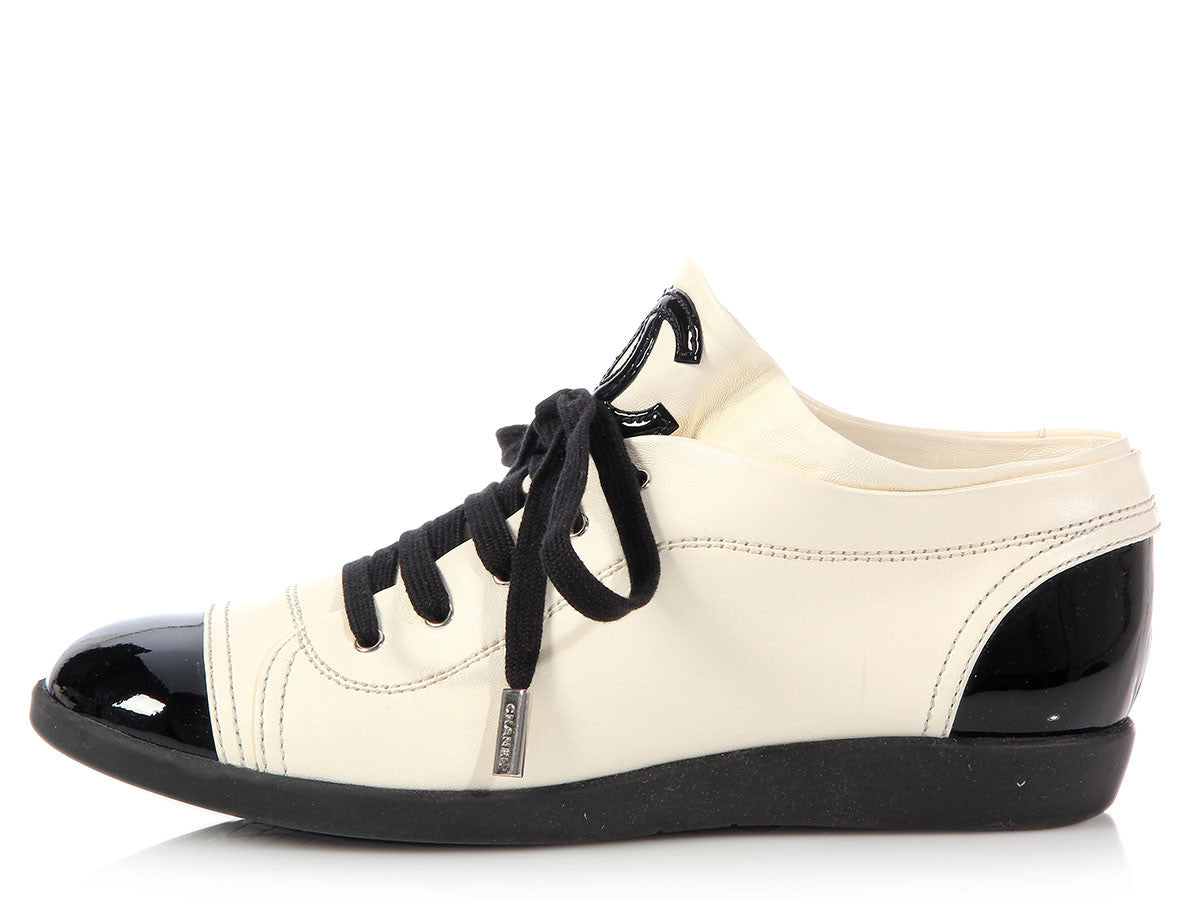 Chanel Leather and Patent Cap Toe Sneakers