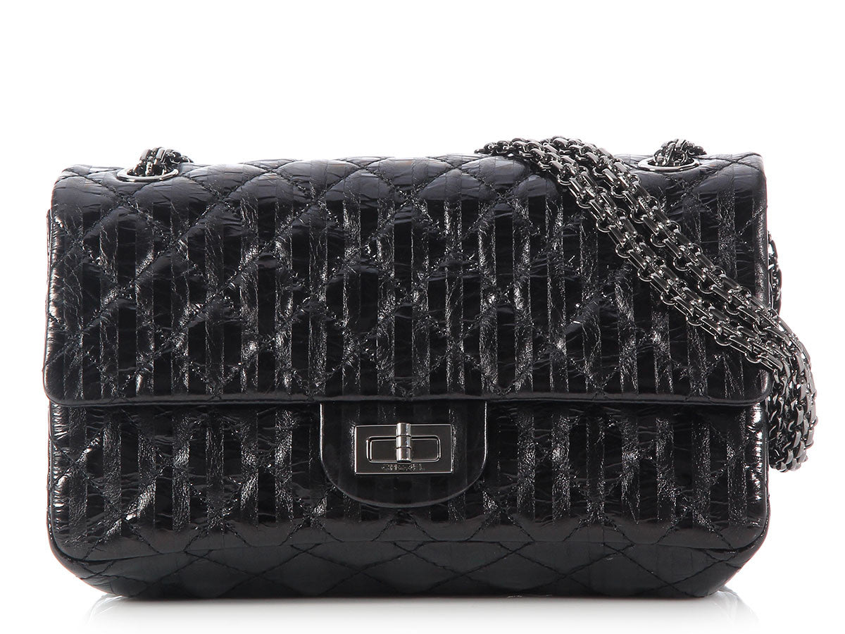 Chanel Black Striped Accordion Reissue